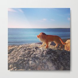 The Lion and the Seaside Metal Print