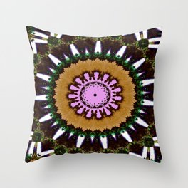 Lovely Healing Mandala  in Brilliant Colors: Black, Brown, Green, Beige, and Pink Throw Pillow