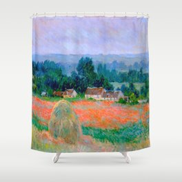 Claude Monet Impressionist Landscape Oil Painting Haystack at Giverny Shower Curtain