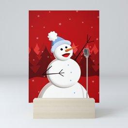 Happy Singing Snowman Mini Art Print