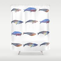 whales Shower Curtains featuring Whales by Lene Daugaard