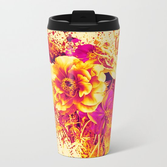 splash flowers Metal Travel Mug
