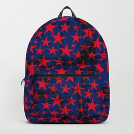 Red stars on grunge textured blue background Backpack