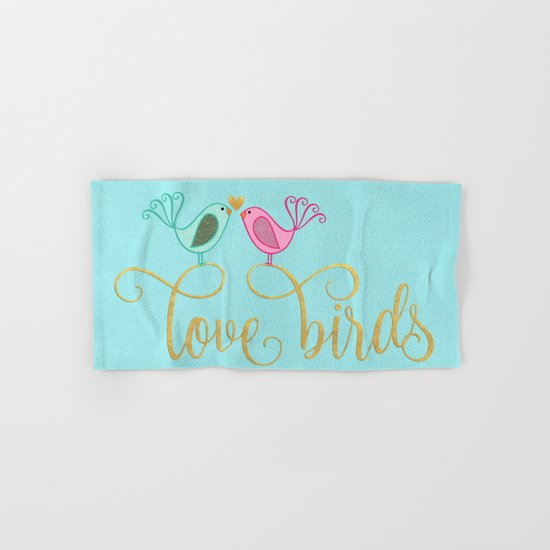 LOVE birds I - Cute watercolor illustration and Typography on aqua Hand & Bath Towel