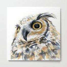 Owl Great Horned Bird of Prey Owls Animals Bird Wildlife Metal Print
