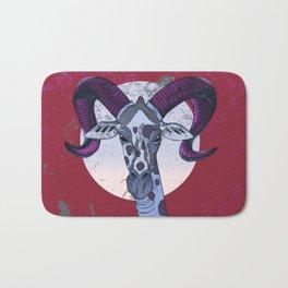 Giraffe Big Horn Red Bath Mat