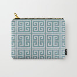 Dusky Blue Greek Key Motif Carry-All Pouch