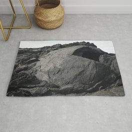 Eroded lava tunnel Rug