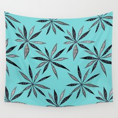 Elegant Thin Flowers With Dots And Swirls Wall Tapestry