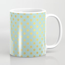 Mint and Gold Dots Pattern Coffee Mug