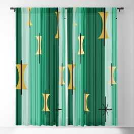 Groovy Lined Mid Century Modern Turquoise Blackout Curtain