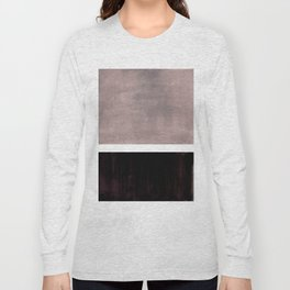 Mid Century Modern Minimalist Art Colorblock Rothko Inspired Squares Grey and Black Simple Abstract Long Sleeve T-shirt