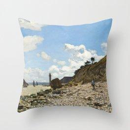 The Beach at Honfleur by Claude Monet, 1866 Throw Pillow