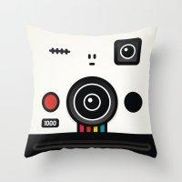 polaroid Throw Pillows featuring polaroid by The Geek Store