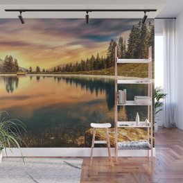 Lake Mountains and Sunset Wall Mural