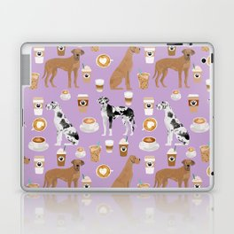 Great Dane coffee cafe dog breed pattern custom pet portrait Laptop & iPad Skin