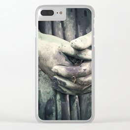 Photo of a Stone Angel Hands Clasped Together Clear iPhone Case