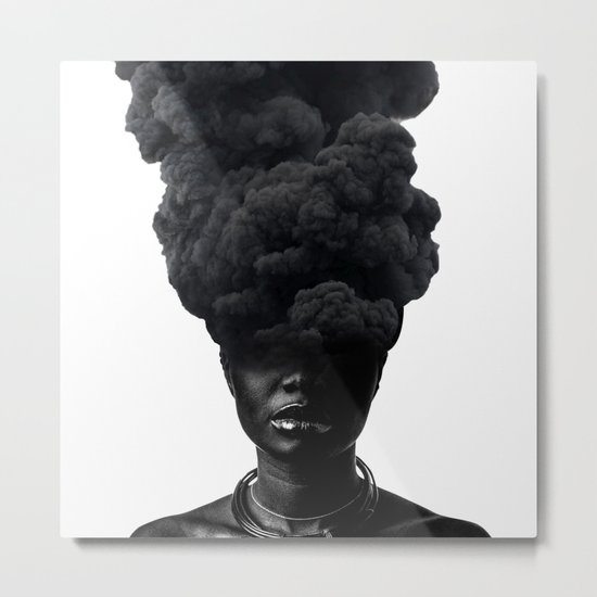 Smoke Face Metal Print