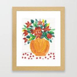 Orange Vase of Flowers Framed Art Print