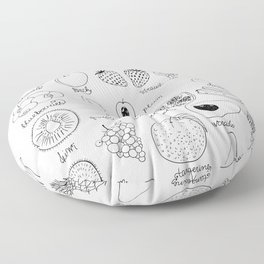 Hand  drawn collection of various fruits Floor Pillow