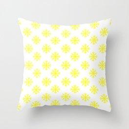 Snowflakes (Yellow & White Pattern) Throw Pillow