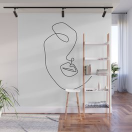 Minimal Abstract Line Face Wall Mural