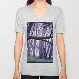 old trees in the middle of the forest Unisex V-Neck
