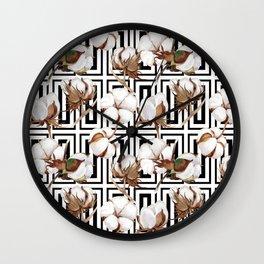 Cotton Flower Pattern 08 Wall Clock