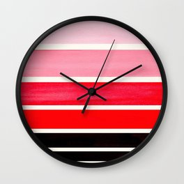 Red Mid Century Modern Minimalist Circle Round Photo Staggered Sunset Geometric Stripe Design Wall Clock