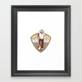 Gold Digger Miner Prospector Shield Framed Art Print