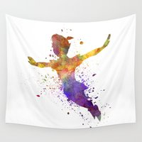 peter pan Wall Tapestries featuring Peter Pan in watercolor by Paulrommer