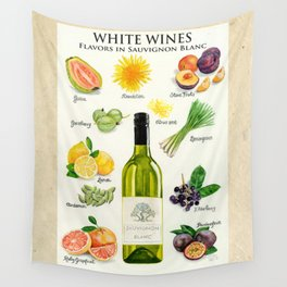 WHITE WINES - Flavors in Sauvignon Blanc Wall Tapestry