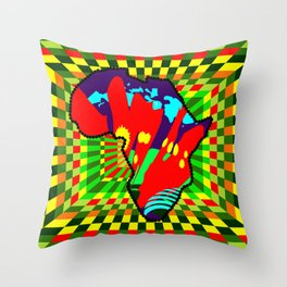 Colorful African Checkered Abstract Print Throw Pillow