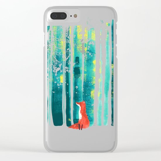 Fox in quiet forest Clear iPhone Case