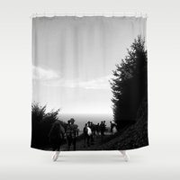 hiking Shower Curtains featuring Hiking the California Coast by Brooke Copani