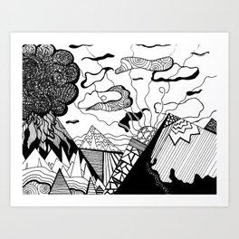 Zentangle Mountain Art Print
