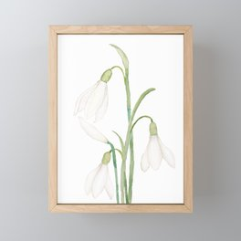 angelic snowdrop flowers watercolor Framed Mini Art Print