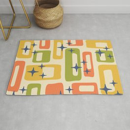 Retro Mid Century Modern Abstract Pattern 277 Yellow Orange Green Rug