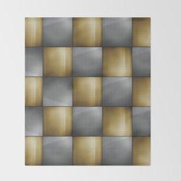 Gold Silver Metallic Perforated Metal Checkerboard Pattern Throw Blanket