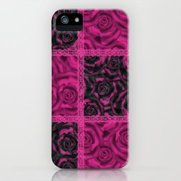 Raspberry patchwork Roses. iPhone Case