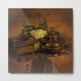 Vintage coffee grinder, pot an beans Metal Print