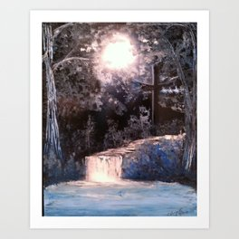 Blues In Nature Waterfall Spray Painting Art Print