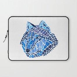 Blue Wolf Painted Mosaic Illustration Laptop Sleeve