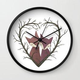 Cute fox love Wall Clock