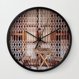 Closed Shop Front Old Iron Steel Shutter Rust Wooden Chairs Wall Clock
