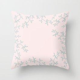 Soft flora pattern Throw Pillow
