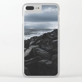 Rocky Pier in Vík, Iceland Clear iPhone Case