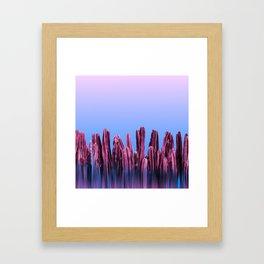 Dreamy Sunrise Cactus Landscape Glitch Framed Art Print