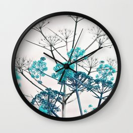 WILDFLOWERS in RED Wall Clock
