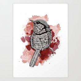 One Little Bird (Red Version) Art Print